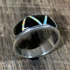 AJ Sterling Silver Onyx & Opal Inlaid Ring